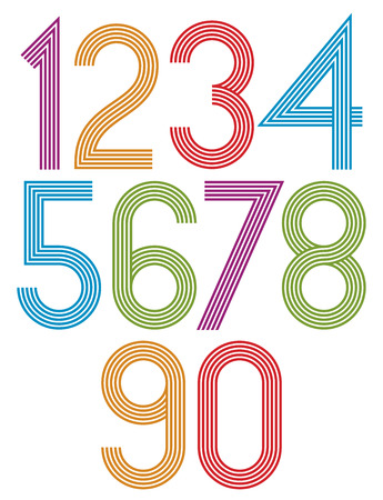 number 5: Retro stripes funky numbers set, light version, trendy elegant retro style design. Vector. Illustration