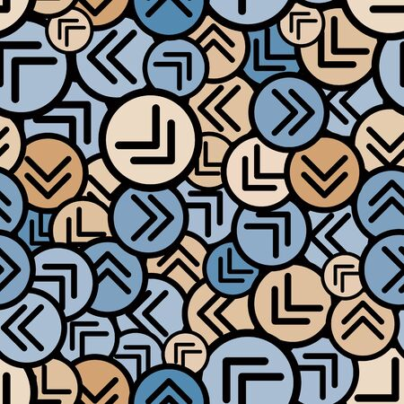 Round arrows seamless pattern, vector background. Vector