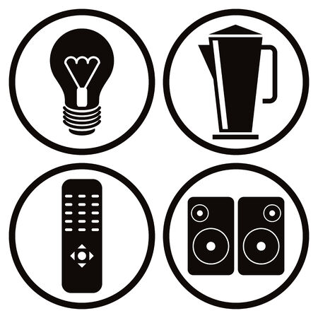Household appliances icons set, light bulb, teapot, tv remote control, speakers.