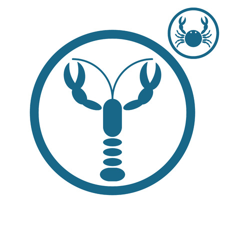 cray: Crayfish and crab vector icons.