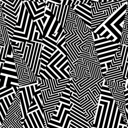 Geometric optical seamless pattern, black and white vector background.