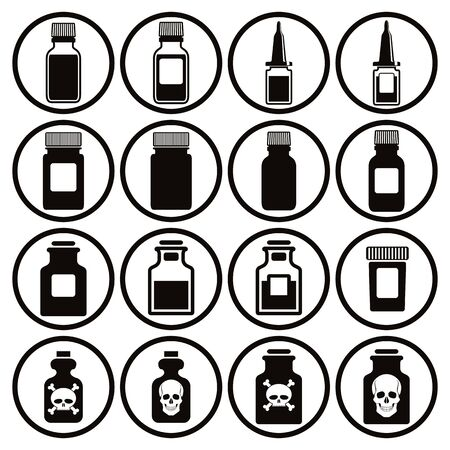 apothecary: Medical bottles icon set, vector. Illustration