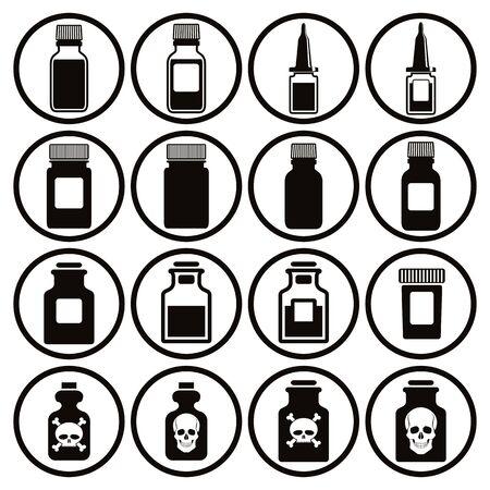 pictogramme: Medical bottles icon set, vector. Illustration