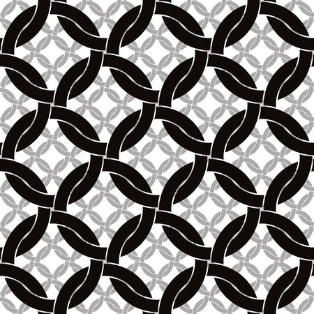 Circles netting seamless pattern, retro style geometric vector background.