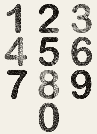 Hand drawn and sketched numbers set, vector sketch style. Vector