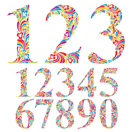 0 6: Floral colorful numbers set, vector typeface. Illustration