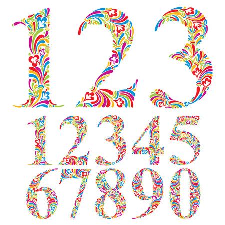 nombres: Num�ros color�s floraux fix�s, vecteur typographiques.