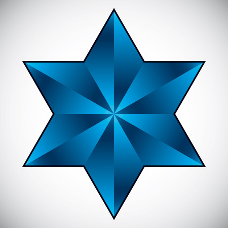 Six point star symbol, vector. Vector