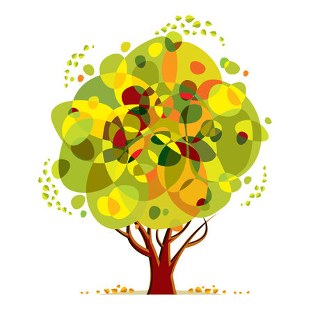eco notice: Bright color tree vector cartoon style illustration.