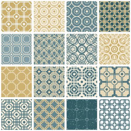 damask background: Vintage tiles seamless patterns vector set.