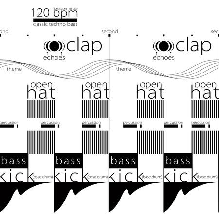 modular rhythm: Techno music visualization seamless pattern. 2 seconds of dance music beat visualized.