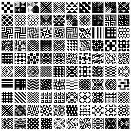 cuadrados: 100 patrones transparentes geométricos establecidos, colección de fondos de vector blanco y negro. Vectores