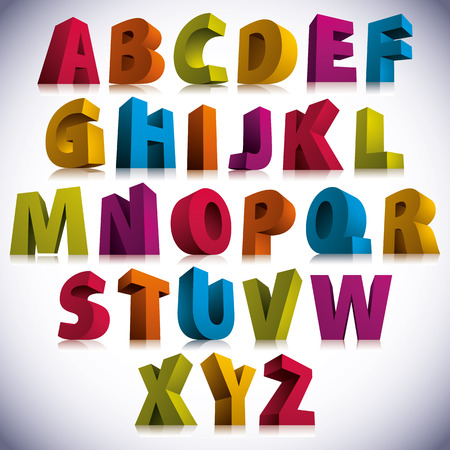 alphabet letters: 3D font, big colorful letters standing