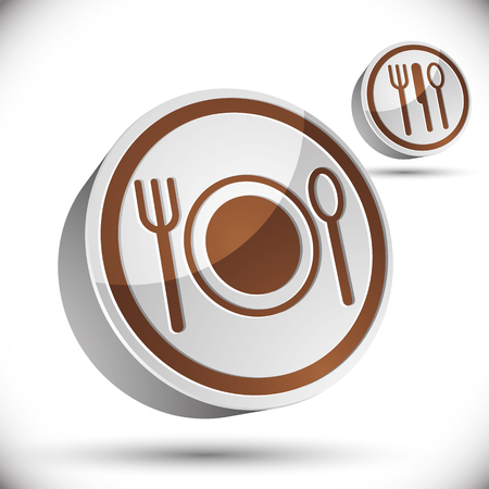 simplistic icon: Plate fork and spoon 3d vector icon.