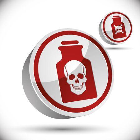 poison bottle: Bottiglia di veleno con l'icona cranio 3d, illustrazione vettoriale.