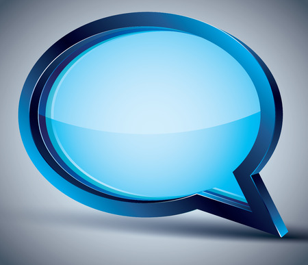 tell: 3d speech bubble with blank glass inside, vector background.