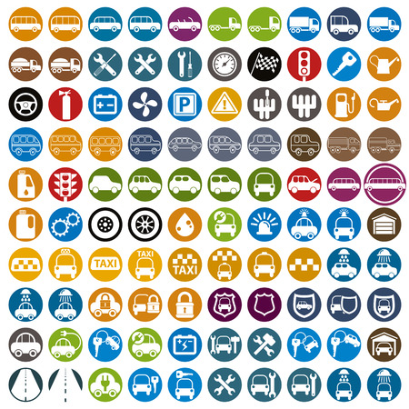 safety officer: 100 car and transport icons, color vector set.