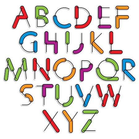 sans serif: Weird constructor font, vector alphabet letters, color version.