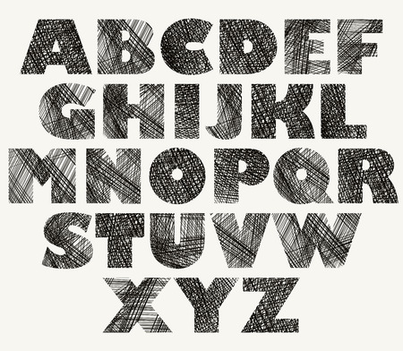 verbs: Hand drawn and sketched bold font, vector sketch style alphabet.