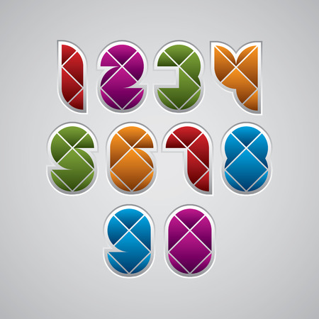 Geometric modern style numbers made with rhombuses, vector set. Web buttons style.  Vector