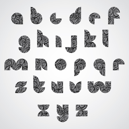 doddle: Modern shape black letters, digital contemporary font with hand drawn curly lines pattern, sketch funky curls doddle style drawing vector alphabet.  Illustration