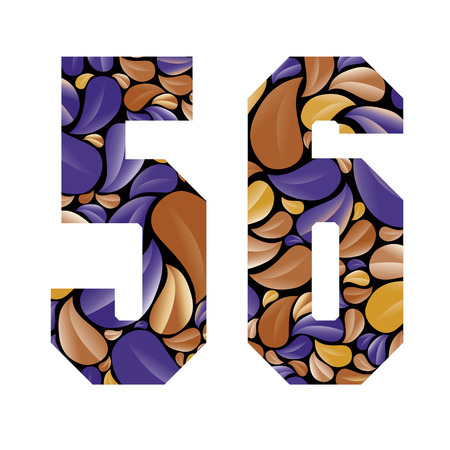 sans serif: Beautiful floral numbers, vintage style patterned flower petals geometric shaped numerals, bold geometric poster condensed symbols, vector number 5 and number 6. Illustration