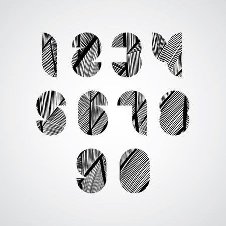 doddle: Modern digital shaped stylized numbers, contemporary style numerals with hand drawn lines pattern, sketchy doddle style drawing vector symbols.