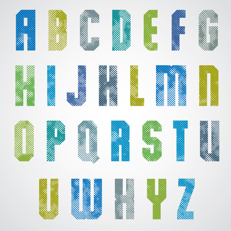 Halftone print dots textured font, uppercase letters, grunge aged macro style, geometric poster letters alphabet design.  Vector