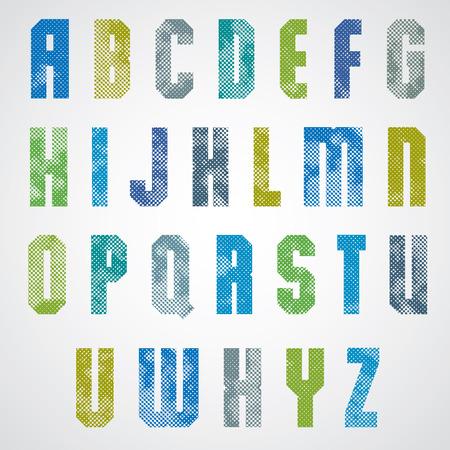 pila bautismal: Puntos de impresi�n de medios tonos de la fuente texturizada, letras may�sculas, grunge estilo macro edad, letras de carteles dise�o geom�trico de alfabeto.