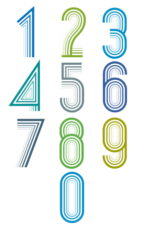 number 5: Inner Echo lined numbers vector set, trendy elegant retro style design. Vector.