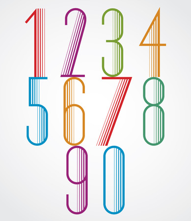 sans: Elegant Tall Striped retro style numbers set, beautiful geometric patterned narrow lined design. Vector.