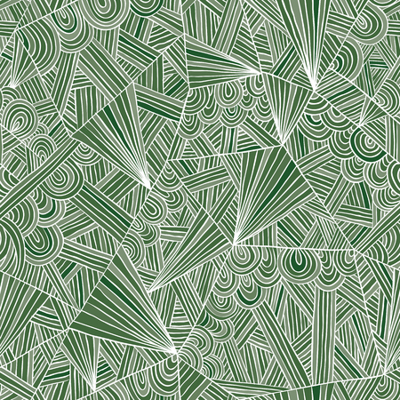 doddle: Green doddle seamless pattern, vector background.
