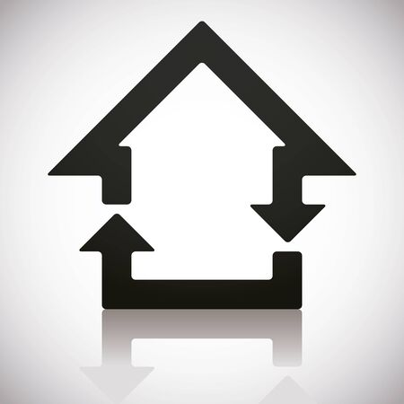 pictogramme: Home and reload icons combined, vector symbol.