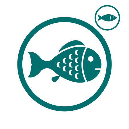 simplistic icon: Fish simplistic vector icon. Illustration
