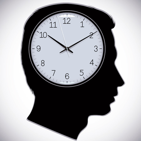 indicate: Male head silhouette with watch instead of brains, vector.