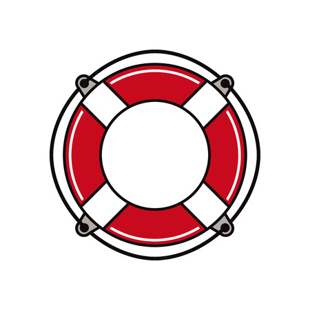 preserver: Life buoy simplistic vector icon. Illustration