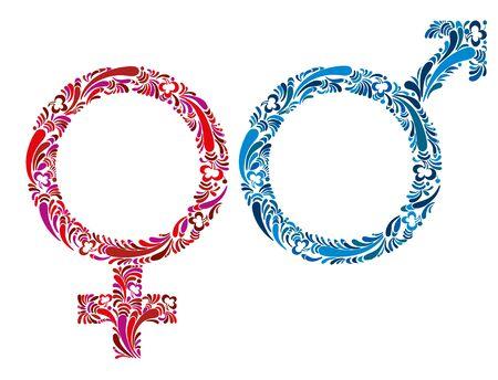 pictogramme: Female and male symbols, floral vectors. Illustration