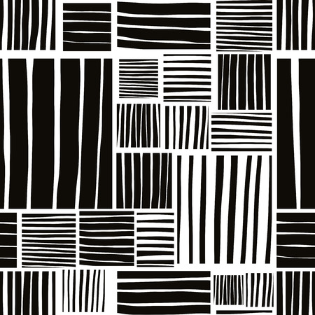 Patched lines seamless pattern, black and white vector background. Vector