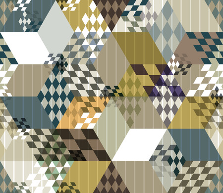 Abstract retro style 3d cubes geometric seamless pattern, vector background. Vector
