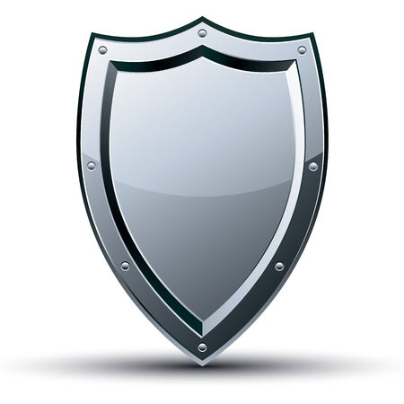 3d shield: Shield icon isolated on white background, vector. Illustration