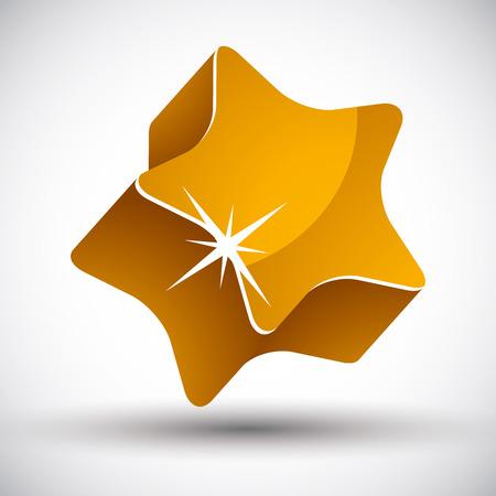 pictogramme: Golden star 3d vector icon.