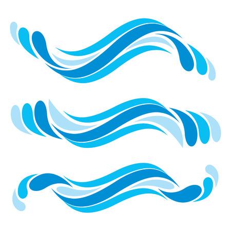 oceano: Símbolos de la onda fijan, vector. Vectores