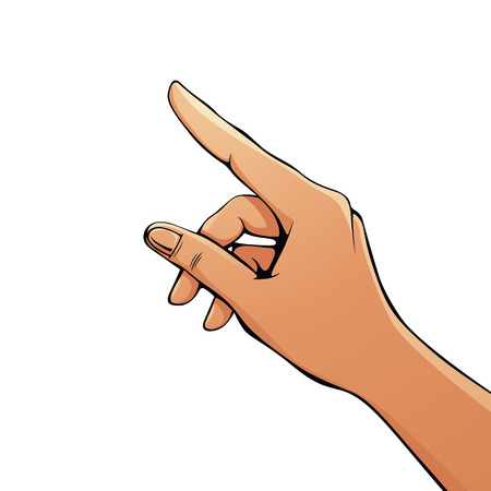 Finger pointing female hand vector illustration.