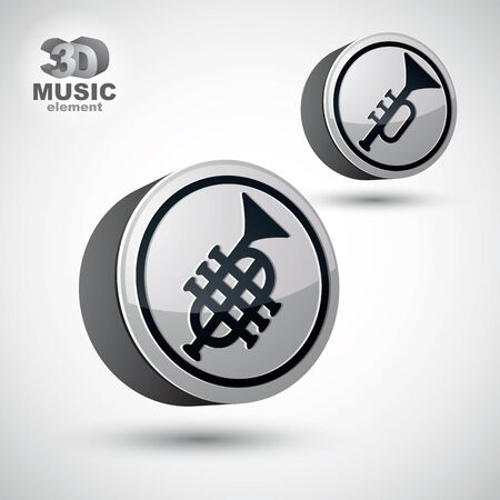 versions: Music pipe icon isolated, 3d vector music theme design element, 2 versions. Illustration