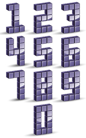 3d cubes numbers set, digital style vector. Vector