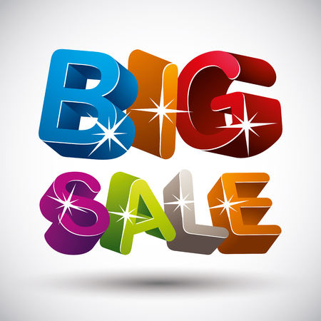 big sale: Big sale lettering made with 3d colorful letters isolated on white background, vector illustration.