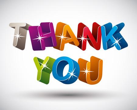 merci: Merci lettrage fait avec 3d lettres color�es isol� sur fond blanc, vecteur.