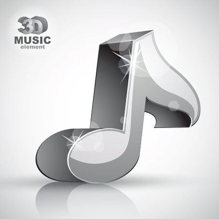 sonata: Metallic musical note icon from upper view isolated, 3d music design element, image contain transparent shadows reflections and flares  Illustration