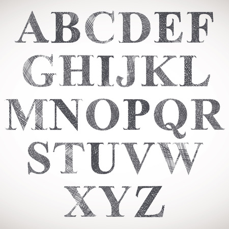 verbs: Hand drawn and sketched classic font, vector sketch style alphabet.