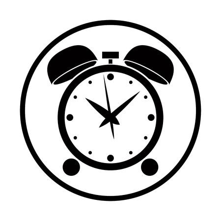 picto: Alarm clock vector icon, black and white simplistic stylized symbol.